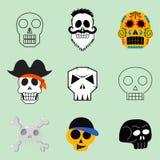 Art différent d'anatomie de tatouage de style d'horreur de Halloween d'illustration de vecteur de visages de crânes de style Images stock