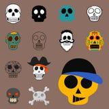 Art différent d'anatomie de tatouage de style d'horreur de Halloween d'illustration de vecteur de visages de crânes de style Photographie stock libre de droits