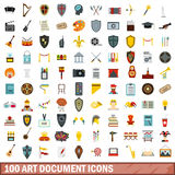 100 art document icons set, flat style. 100 art document icons set in flat style for any design vector illustration Stock Photography