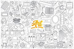 Art doodle set with yellow lettering. Hand drawn set of Art doodles with yellow lettering in vector Royalty Free Stock Image