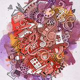 Art doodles elements watercolor background Royalty Free Stock Images