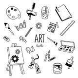 Art Doodles Handteckningsstilar av konstobjekt Royaltyfri Bild