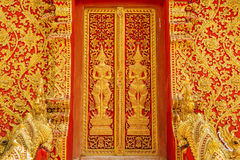 Art door carving guardian giant in the temple ,Thailand Royalty Free Stock Image