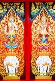 Art on the door. Details of Thai traditional style door painting Stock Photos