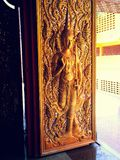 The art on the door Thai temple Stock Photo