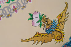 Mural painting Art dragon wall and wallpaper background Stock Photography