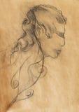 Art drawing beautiful spiritual elf girl face and sepia background. Stock Photos
