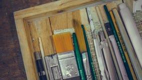 Art Drawing Brush Instrument Set royalty-vrije stock foto's