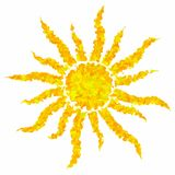 Art drawing colorful grunge sun isolated abstract background Stock Images