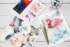 Art drawing craft watercolor paint design Royalty Free Stock Photography