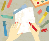 Art drawing hands empty paper Royalty Free Stock Photo