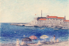 Art  drawing Montenegro. Fortress Castelo. Royalty Free Stock Images