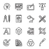Art, drawing and web and graphic design icons set. Line Style stock vector Stock Photo