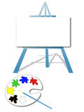 Art easel. And paint palette with a brush Stock Photo