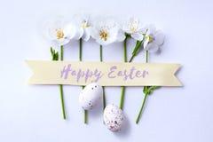 Art Easter ägg- och vårblommor; lycklig påskdag; Royaltyfri Foto