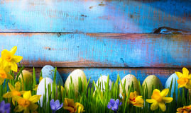 Art Easter Background with easter eggs and spring flowers on green grass. Easter Background with easter eggs and spring flowers on green grass royalty free stock photography
