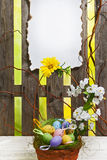 Art easter background with fence, eggs, spring flowers, blank ca Stock Images