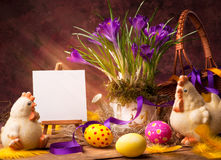 Art Easter background with flower and Easter eggs Stock Photo