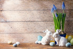 Art Easter bunny and Easter eggs royalty free stock photos