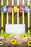 Art Easter Egg background fence card blank spring flower eggs Royalty Free Stock Photos