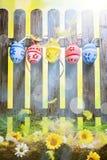 Art Easter Egg background fence card spring flower Royalty Free Stock Photo
