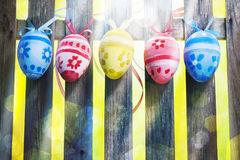Art Easter Egg background fence card spring flower Stock Photo