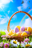 Art Easter eggs on basket Stock Photography