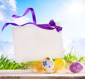 Art Easter greeting card with  Easter eggs Stock Photos