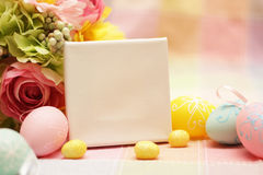 Art Easter greeting card with Easter eggs Royalty Free Stock Photo