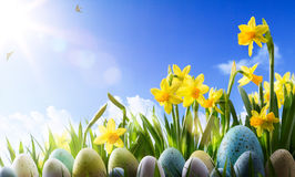Art Easter-Hintergrund; Frühlingsblumen und Ostereier stockbild
