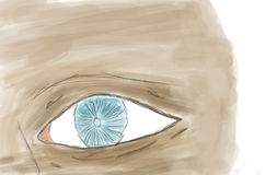 Drawing of eye. Drawing of a face with emphasis on blue eye vector illustration