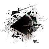 Art Elements poligonal geométrico negro Explosión abstracta con los triángulos poligonales, rondas, líneas Tecnología futura ilustración del vector