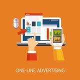 Art en ligne de concept de publicité Image stock