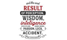 Art the end result of perception, wisdom, intelligence, discipline, hard work, passion. Luck, accident, and coincidence quote vector illustration