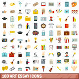 100 art essay icons set, flat style. 100 art essay icons set in flat style for any design vector illustration Stock Images