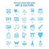 Art et culture Tone Icon Pack bleue - 25 ensembles d'icône illustration libre de droits