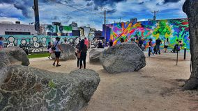Art is everywhere. A family day at Wynwood walls in Miami, appreciating art in new ways stock image