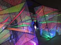 Art Exhibit Cubes moderno na margem em Georgetown fotos de stock