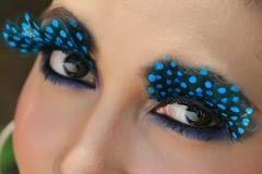 Art of eye. With blue mascara Stock Images