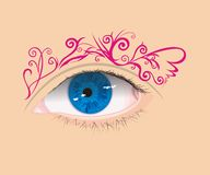 Art of eye. Art of blue vector eye with abstract pink eyebrow Royalty Free Stock Images