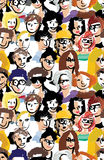 Art faces crowd people seamless pattern. Royalty Free Stock Image