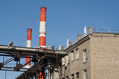 Art factory. Mannequins on the roof of the plant on a background of blue sky and pipes Stock Photo