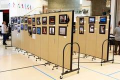 Art fair on local school. An art display on the art fair in a local school stock photos