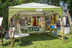 Art fair stand. In the Old Sainte-Rose, Laval, the gallery organizes exhibitions and art workshops throughout the year.  In the summer, weekends and bohemian Stock Photo