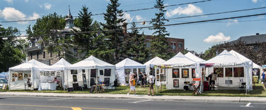 Art fair stands. In the Old Sainte-Rose, Laval, the gallery organizes exhibitions and art workshops throughout the year.  In the summer, weekends and bohemian Stock Photo