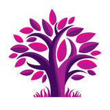 Art fairy illustration of purple tree, stylized eco symbol. Stock Photos