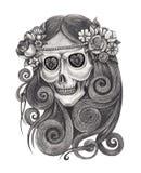 Art Fairy Skull Tattoo vector illustratie
