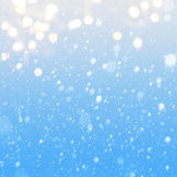 Art falling snow on the blue background Royalty Free Stock Image