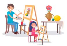 Art Family Classes Drawing Still Life Picture Vase. Art classes with father and daughter. Adult man and his kid girl drawing still life picture of vase with Stock Photo