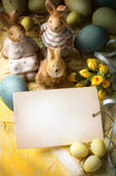 Art family Easter bunny and Easter eggs Royalty Free Stock Images